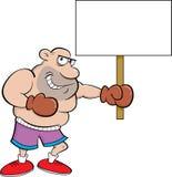 Cartoon boxer holding a sign Stock Photo