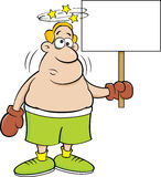 Cartoon boxer holding a sign. Stock Image