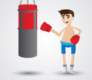 Cartoon boxer with sandbag boxing Royalty Free Stock Photography