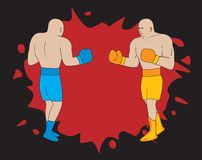 Cartoon boxers and bloody spot. In the background. Vector illustration vector illustration