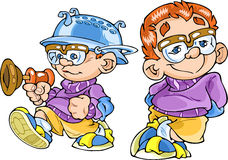 Cartoon boy. The illustration shows the different positions of a small boy in spectacles.He is funny and play toys. Illustration done in cartoon style, on Royalty Free Stock Images