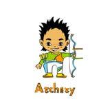 Cartoon Boy Archer with bow Stock Photo