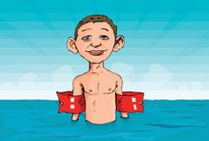 Cartoon of a boy with armbands. In the water. He is skinny Royalty Free Stock Image