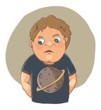 Cartoon boy ashamed in cute t-shirt. Vector cartoon illustration. This file needs an EPS10 or later compatible software Stock Image