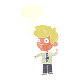Cartoon boy asking question with speech bubble Royalty Free Stock Photos