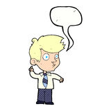 Cartoon boy asking question with speech bubble Stock Photo