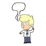 Cartoon boy asking question with speech bubble Royalty Free Stock Image