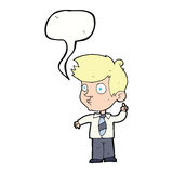 Cartoon boy asking question with speech bubble Royalty Free Stock Images