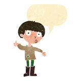 Cartoon boy asking question with speech bubble Stock Photography