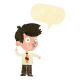Cartoon boy asking question with speech bubble Stock Image