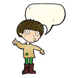 Cartoon boy asking question with speech bubble Stock Images
