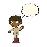 Cartoon boy asking question with thought bubble Royalty Free Stock Photography