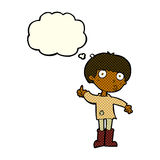 Cartoon boy asking question with thought bubble Royalty Free Stock Image