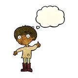Cartoon boy asking question with thought bubble Royalty Free Stock Photo