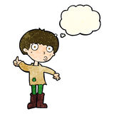 Cartoon boy asking question with thought bubble Royalty Free Stock Images