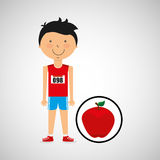 Cartoon boy athlete with apple Royalty Free Stock Photo