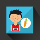 Cartoon boy athlete with carrot Royalty Free Stock Image