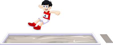 Cartoon boy athlete doing long jump in the competition Stock Photography