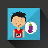 Cartoon boy athlete with eggplant Royalty Free Stock Photography
