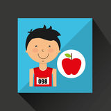 Cartoon boy athlete with flat apple Royalty Free Stock Image