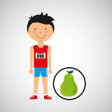 Cartoon boy athlete with pear Royalty Free Stock Image
