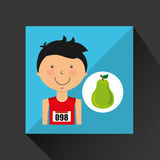 Cartoon boy athlete with pear Royalty Free Stock Photography
