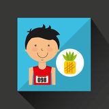 Cartoon boy athlete with pineapple Stock Image