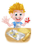 Cartoon Boy Baking. And cooking as a chef in the kitchen royalty free illustration