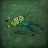 Cartoon boy with ball for Cricket concept. Royalty Free Stock Photography