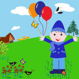 Cartoon Boy with Balloons in the Park. Cartoon character playing with balloons in the park having a fun time on his birthday stock illustration