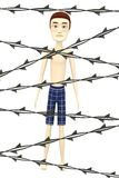 Cartoon boy with barbed wire Stock Photos