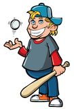 Cartoon of boy with baseball bat Royalty Free Stock Photos
