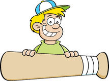 Cartoon boy with a baseball bat banner. Royalty Free Stock Image
