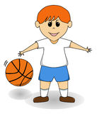 Cartoon Boy - Basketball. Orange haired cartoon boy playing basketball Royalty Free Stock Images
