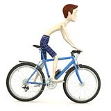 Cartoon boy on bicycle Royalty Free Stock Images