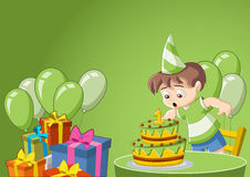 Cartoon boy at birthday party Stock Photography
