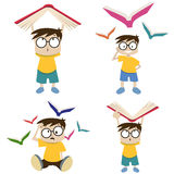 Cartoon boy with book illustration Royalty Free Stock Image