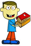 Cartoon boy with books. Royalty Free Stock Images