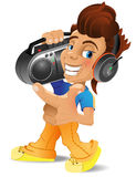 A Cartoon boy with boombox Royalty Free Stock Photography