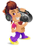 Cartoon boy with boombox Stock Images
