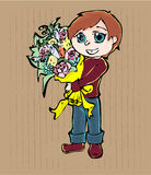 Cartoon boy with bouquet of flowers Royalty Free Stock Images