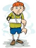 Cartoon boy with a broken arm.  vector illustration