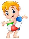 Cartoon boy with a buoy presenting. Illustration of Cartoon boy with a buoy presenting Stock Image