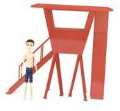 Cartoon boy with cabin Royalty Free Stock Photos