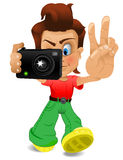 Cartoon boy with camera Stock Photo