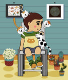 Cartoon Boy with Cat in the house  Royalty Free Stock Photography