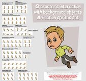 Cartoon boy character animation sprites sheet set. Cartoon boy character big vector animation sprites sheet set. Interaction with background objects. Fall and Stock Image