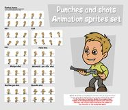 Cartoon boy character animation sprites sheet set. Cartoon boy character big vector animation sprites sheet set. Punches, Hit and Kick. Combat stance. Pistol Royalty Free Stock Image