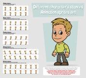 Cartoon boy character animation sprites sheet set. Cartoon boy character big vector animation sprites sheet set. Different stances. Simple, Anger, Combat, Sleepy Stock Image