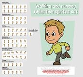 Cartoon boy character animation sprites sheet set. Cartoon boy character big vector animation sprites sheet set. Walking and Running. Jump and Flip. Slowdown Stock Photography